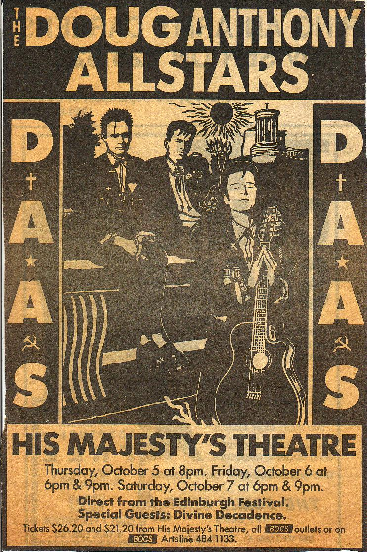 DAAS: The Doug Anthony Allstars with Divine Decadence.